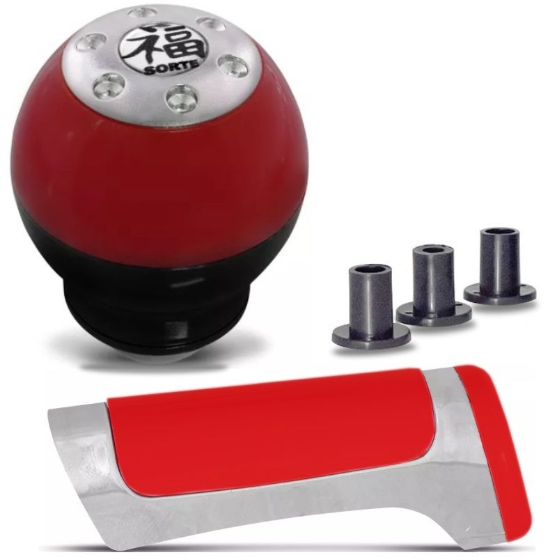 Kit Tuning Vermelho - Manopla Bola de Cambio + Capa Freio de Mão Universal