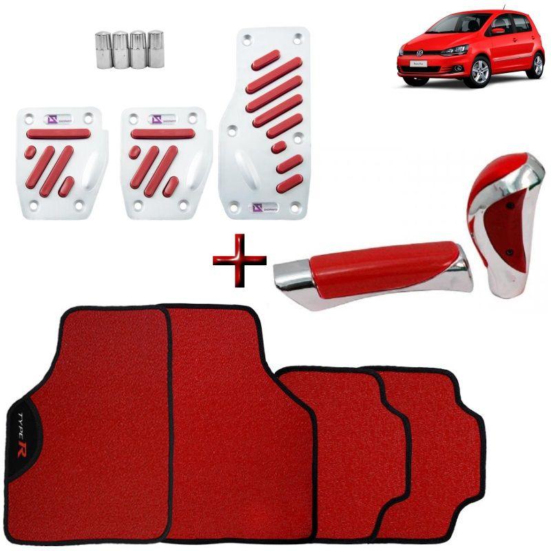 Kit Tuning Vermelho VW Fox Tapete Pedaleiras Manoplas Freio e Bola de Câmbio