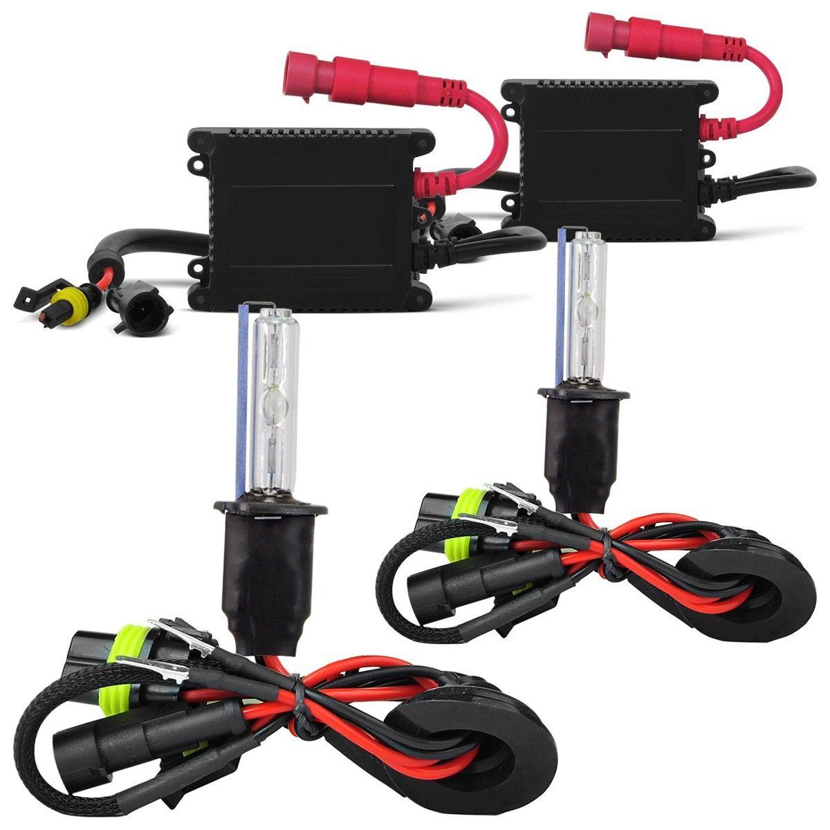 Kit Xenon Carro Tech One 8000k 12v Lampada H1 H3 H4-2 H7 Hb4 H11 - Luz Branco Azulado Visual HID