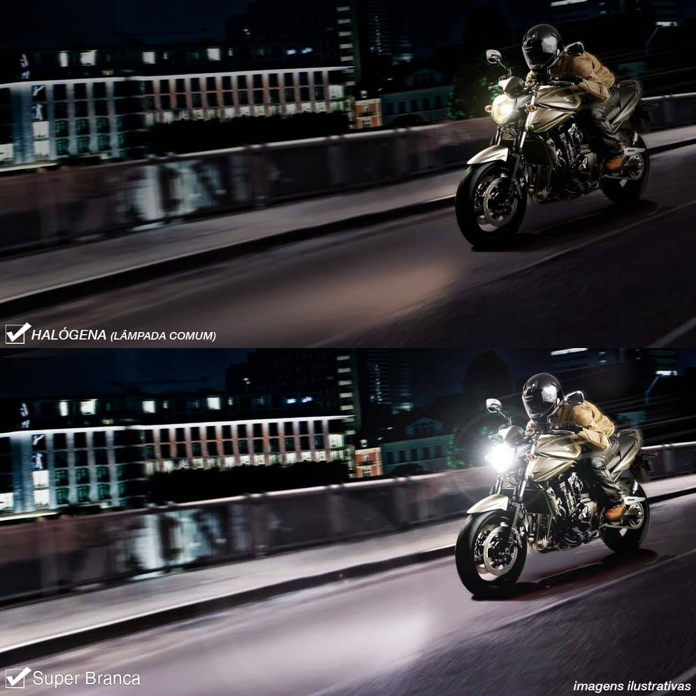 Lampada H4 35w Moto Super Branca 8500k Inmetro Luz Farol