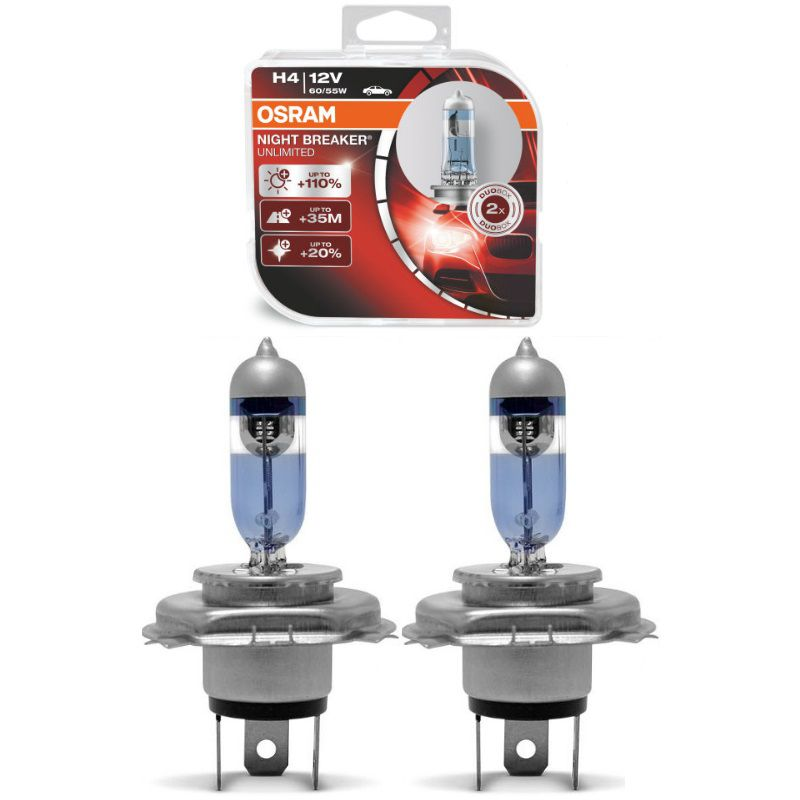 Par Lampada Osram Night Breaker Unlimited Farol H4 110%+ Luz