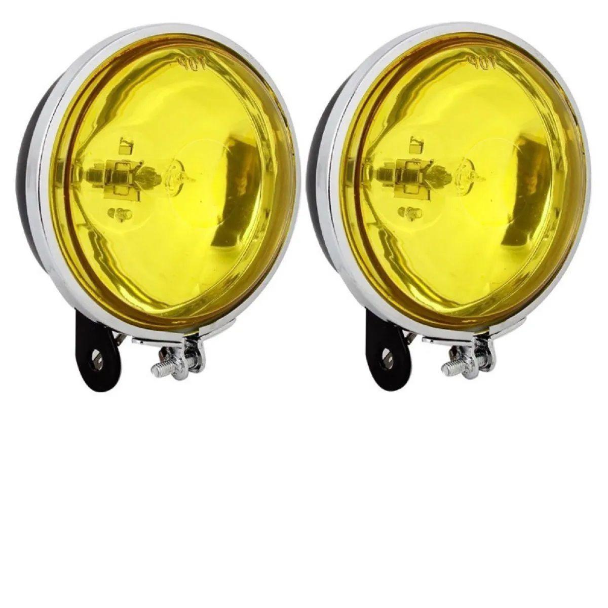 Par Mini Farol De Milha Amarelo Redondo Auxiliar Neblina H3 Halogena Off Road Clássico - 90mm 3 Polegadas