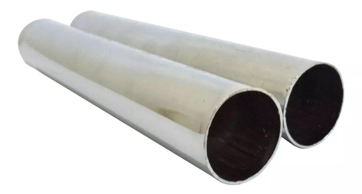 Par Ponteira Esportiva Fusca 1200 1300 1500 Cromada Escapamento Reta Miolo Abafador - 1.3/8 Curta 225mm + Abraçadeiras