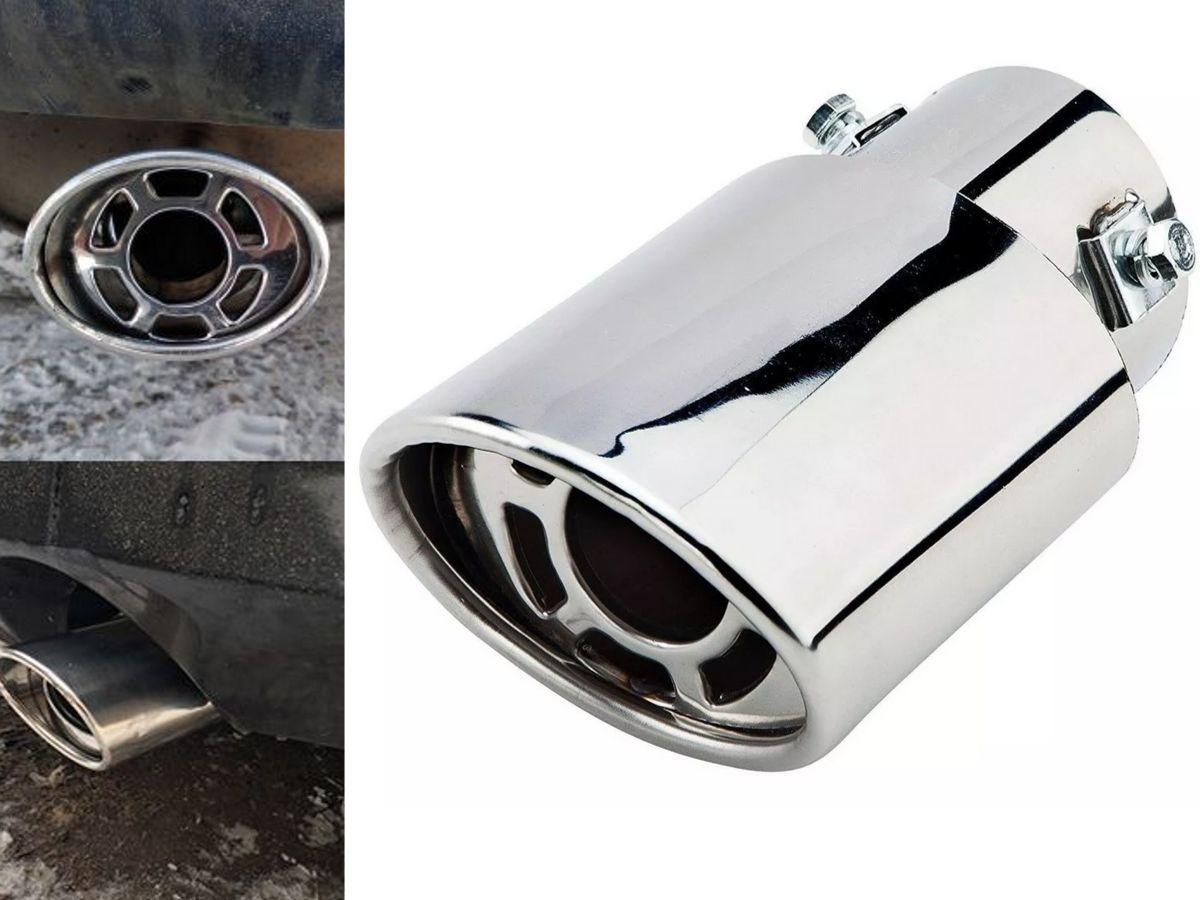 Ponteira de Escapamento Cromada Esportiva Som Ronco Turbo Oval