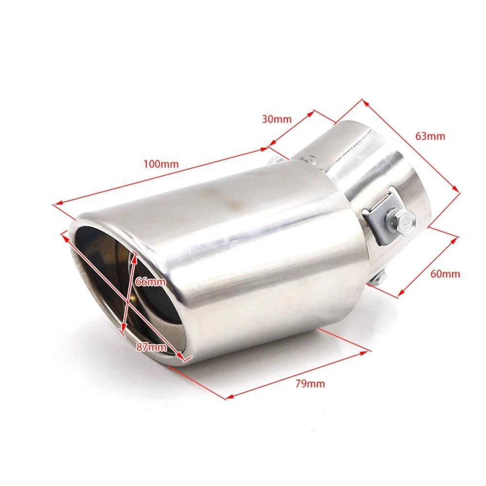 Ponteira de Escapamento Oval Visual Estilo Turbo Tuning - Curvada Cromada