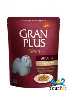 Alimento úmido Gran Plus Sachê Menu Frango para Cães Adultos - Guabi (85g)