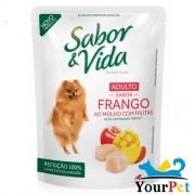 Alimento úmido Sabor & Vida Sachê Frango ao Molho com Frutas para Cães Adultos - Guabi (100g)
