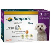 Antipulgas, Carrapatos e Sarnas Simparic 10 mg (Sarolaner) para Cães de 2,6 a 5 kg - Zoetis (3 comprimidos)