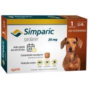 Antipulgas, Carrapatos e Sarnas Simparic 20 mg (Sarolaner) para Cães de 5,1 a 10 kg - Zoetis (1 comprimido)