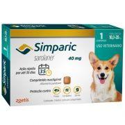 Antipulgas, Carrapatos e Sarnas Simparic 40 mg (Sarolaner) para Cães de 10,1 a 20 kg - Zoetis (1 comprimido)