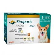 Antipulgas, Carrapatos e Sarnas Simparic 40 mg (Sarolaner) para Cães de 10,1 a 20 kg - Zoetis (3 comprimidos)