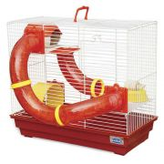 Gaiola Bragança Tubos Divertidos 3 Andares para Hamster - GR158 (Vermelha)