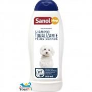 Shampoo Tonalizante Pelos Claros Sanol Dog para Cães e Gatos  - Total Química (500 ml)