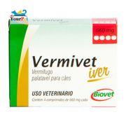 Vermivet Iver 660 mg - Vermífugo Oral de Amplo Espectro para Cães - Biovet (4 comprimidos de 660 mg cada)
