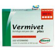 Vermivet Plus 660 mg - Vermífugo Oral de Amplo Espectro para Cães - Biovet (4 comprimidos de 660 mg cada)