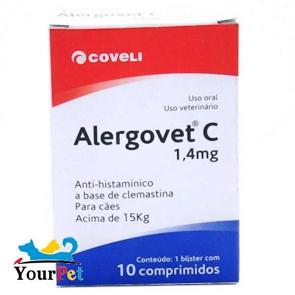 Alergovet C 1,4mg - Anti-histamínico a base de Clemastina para Cães acima de 15 kg - Coveli (10 comprimidos)