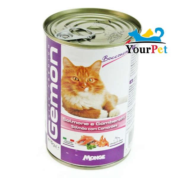 Alimento Úmido Gemon pedaços de Salmão com Camarões ao molho para Gatos - Monge (415g)