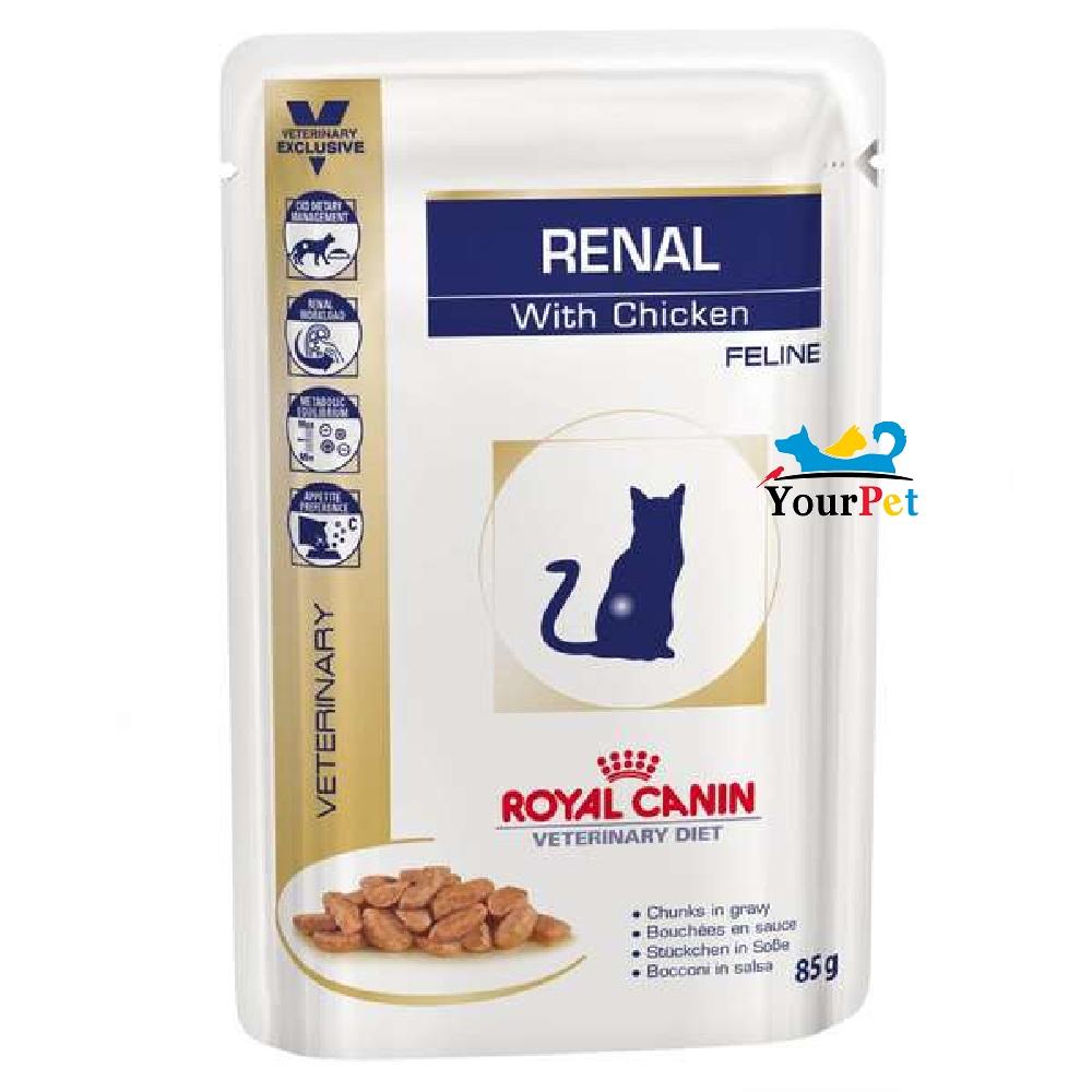Alimento úmido Royal Canin Renal With Chicken S/O Feline wet para Gatos com doença renal crônica (85g)