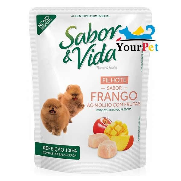 Alimento úmido Sabor & Vida Sachê Frango ao Molho com Frutas para Cães Filhotes - Guabi (100g)