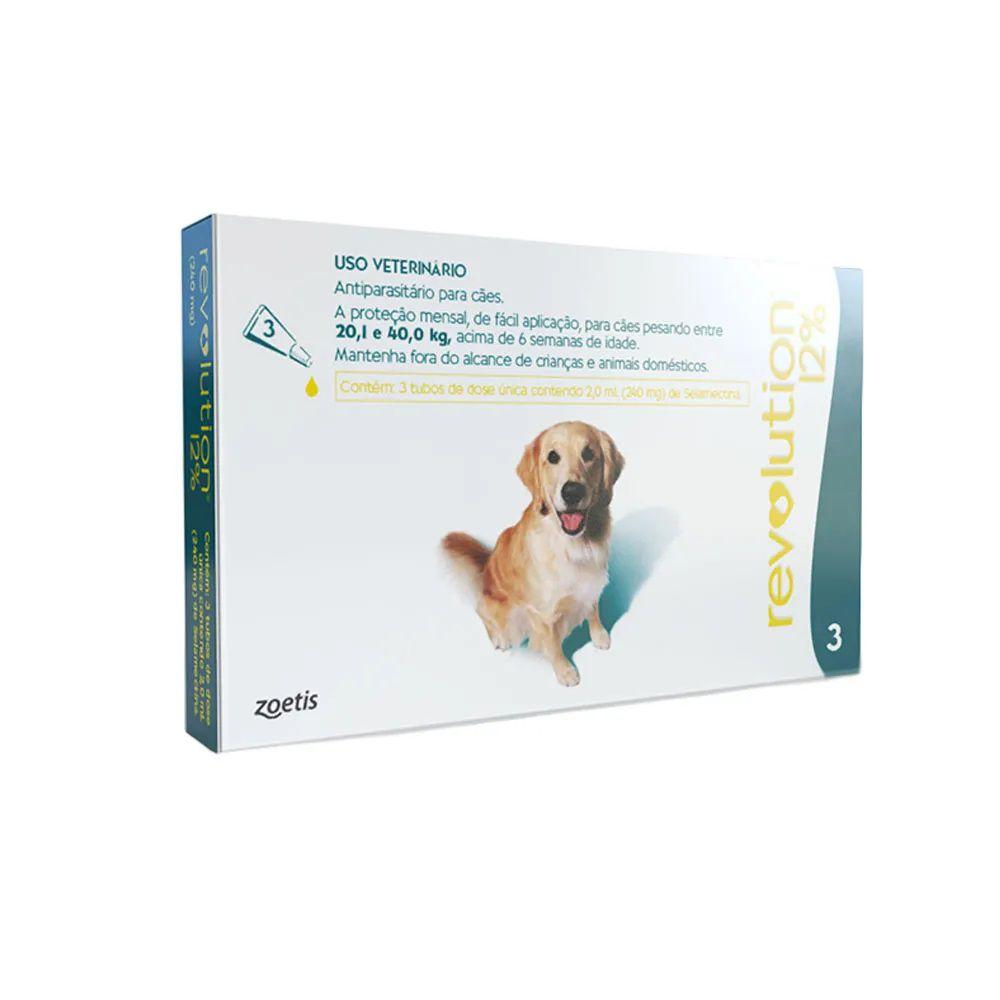 Antipulgas, Carrapatos, Sarnas e Vermes Revolution 12% Cães de 20,1 a 40 kg - Zoetis (3 pipetas)