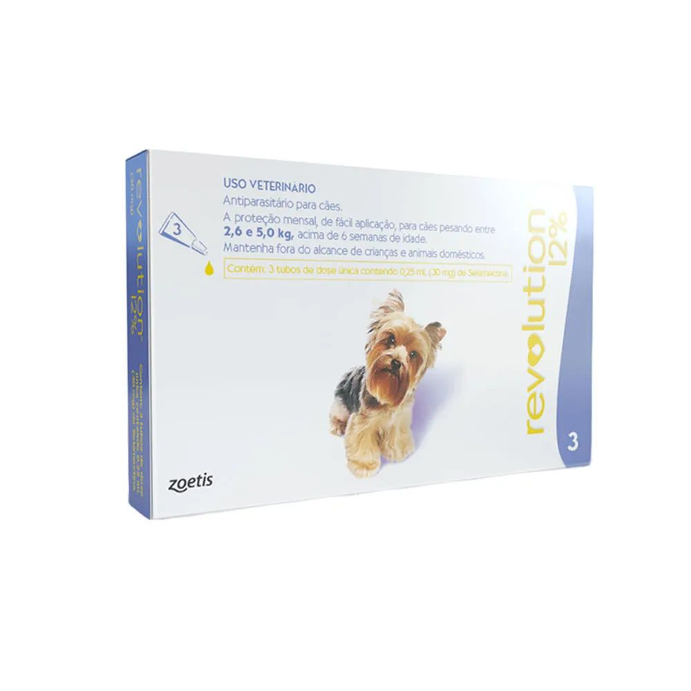 Antipulgas, Carrapatos, Sarnas e Vermes Revolution 12% para Cães 2,6 a 5kg - Zoetis (3 pipetas)