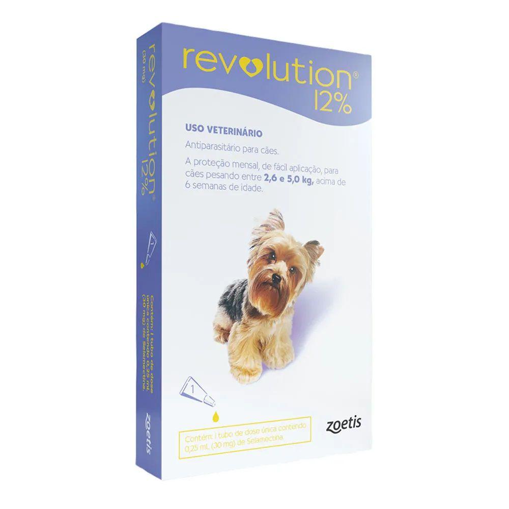 Antipulgas, Carrapatos, Sarnas e Vermes Revolution 12% para Cães de 2,6 a 5kg (1 tubo) - Zoetis