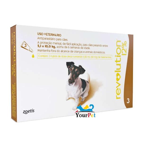 Antipulgas, Carrapatos, Sarnas e Vermes Revolution 12% para Cães de 5,1 a 10 kg - Zoetis (combo com 3 pipetas)