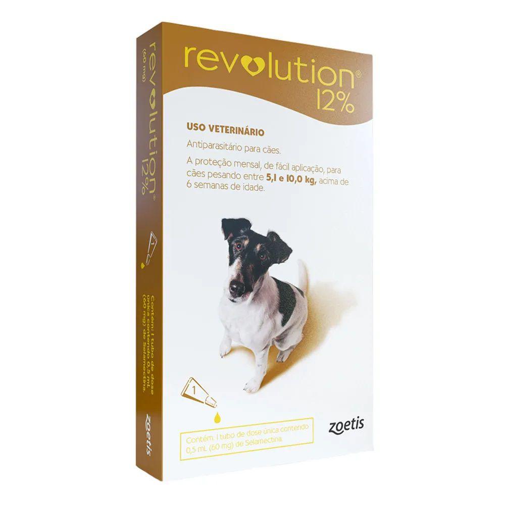 Antipulgas, Carrapatos, Sarnas e Vermes Revolution 12% para Cães de 5,1 até 10kg - Zoetis (1 pipeta)
