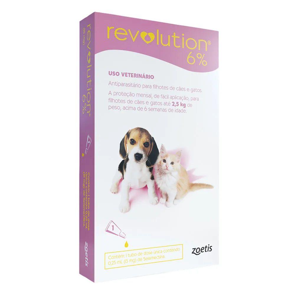 Antipulgas, Carrapatos, Sarnas e Vermes Revolution 6% Cães e Gatos de até 2,5kg - Zoetis (1 pipeta)