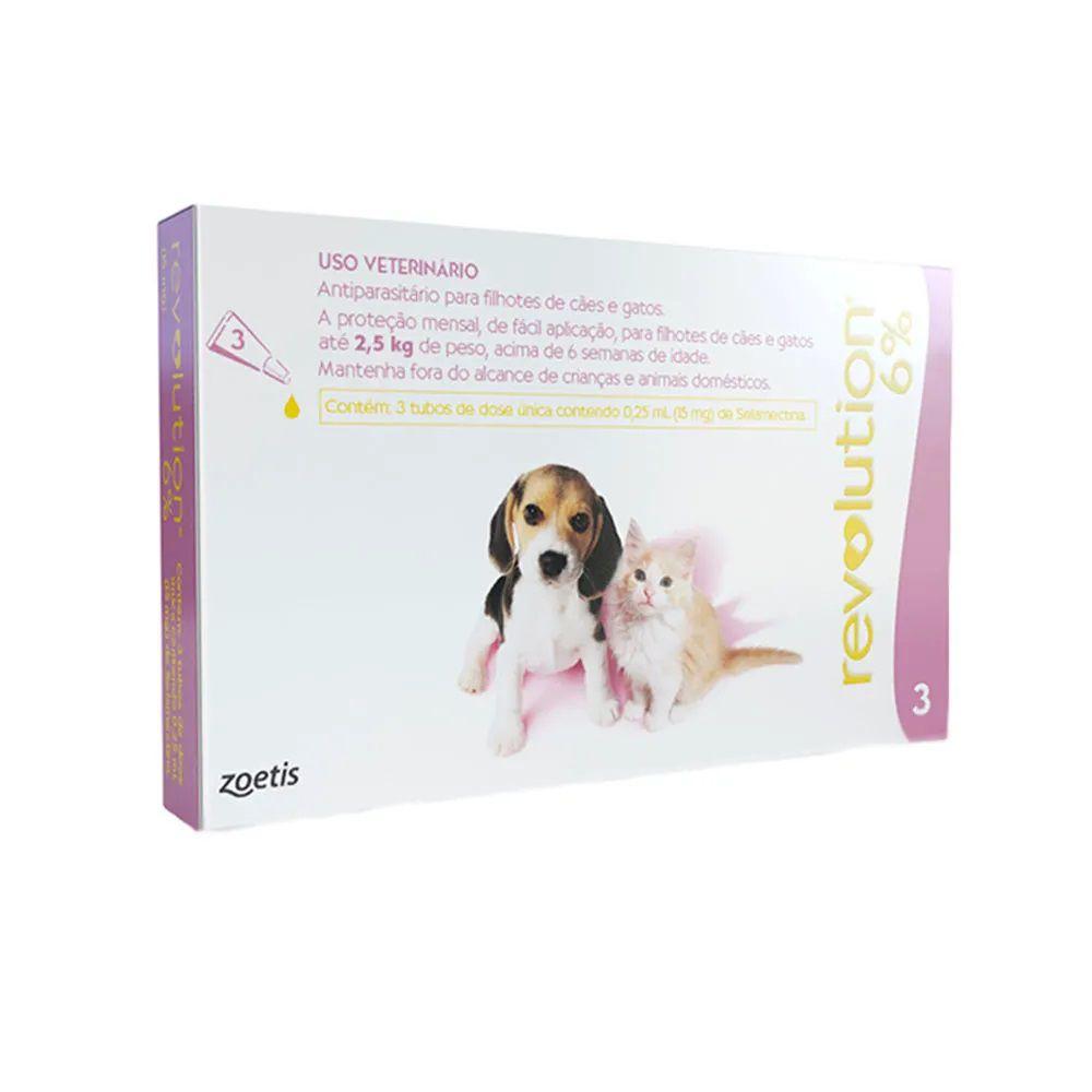 Antipulgas, Carrapatos, Sarnas e Vermes Revolution 6% Cães e Gatos de até 2,5kg - Zoetis (3 pipetas)