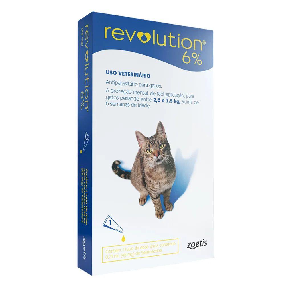 Antipulgas, Carrapatos, Sarnas e Vermes Revolution 6% para Gatos de 2,6 kg a 7,5 kg - Zoetis (1 pipeta)