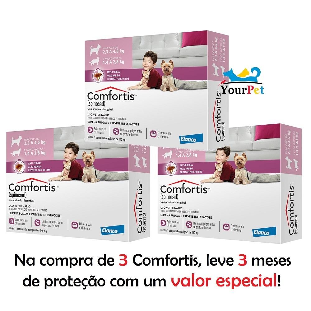 Antipulgas Comfortis 140 mg para Cães de 2,3 a 4,5 Kg e Gatos de 1,4 a 2,8 Kg - Elanco (COMBO)