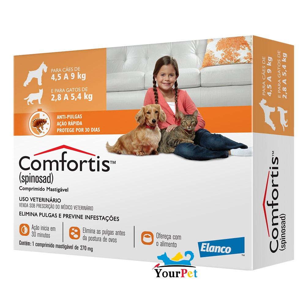 Antipulgas Comfortis 270 mg para Cães de 4,5 a 9 Kg e Gatos de 2,8 a 5,4 Kg - Elanco