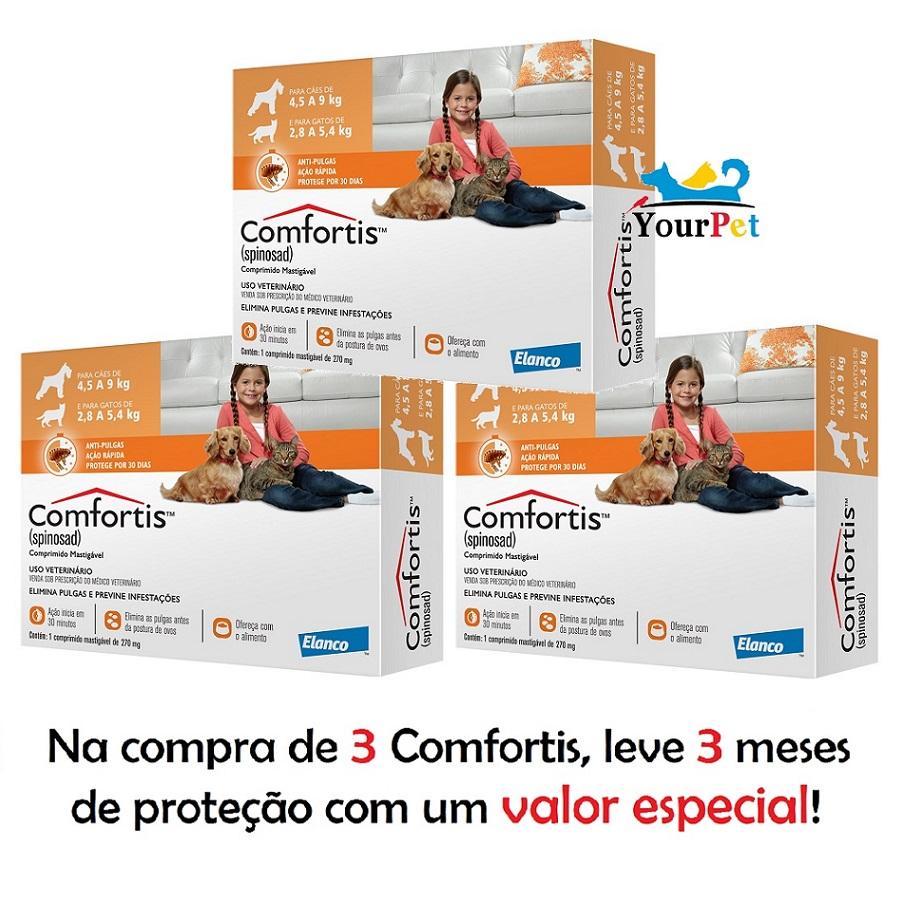 Antipulgas Comfortis 270 mg para Cães de 4,5 a 9 Kg e Gatos de 2,8 a 5,4 Kg - Elanco (COMBO)