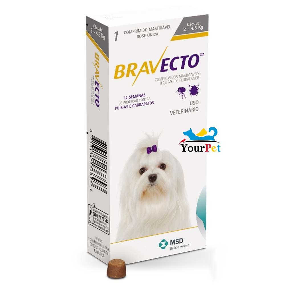 Antipulgas e Carrapatos Bravecto 112,5 mg para Cães de 2 a 4,5 kg - MSD