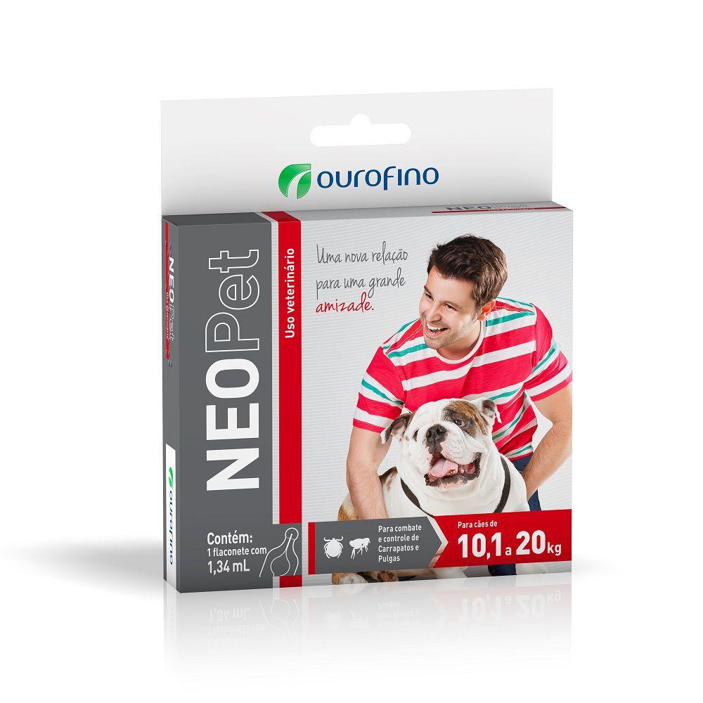 Antipulgas e Carrapatos NeoPet para Cães de 10,1 até 20 kg - OuroFino (1 pipeta de 1,34 ml)