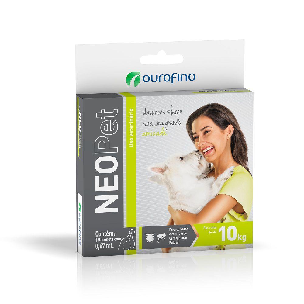 Antipulgas e Carrapatos NeoPet para Cães de até 10 kg - OuroFino (1 pipeta de 0,67ml)