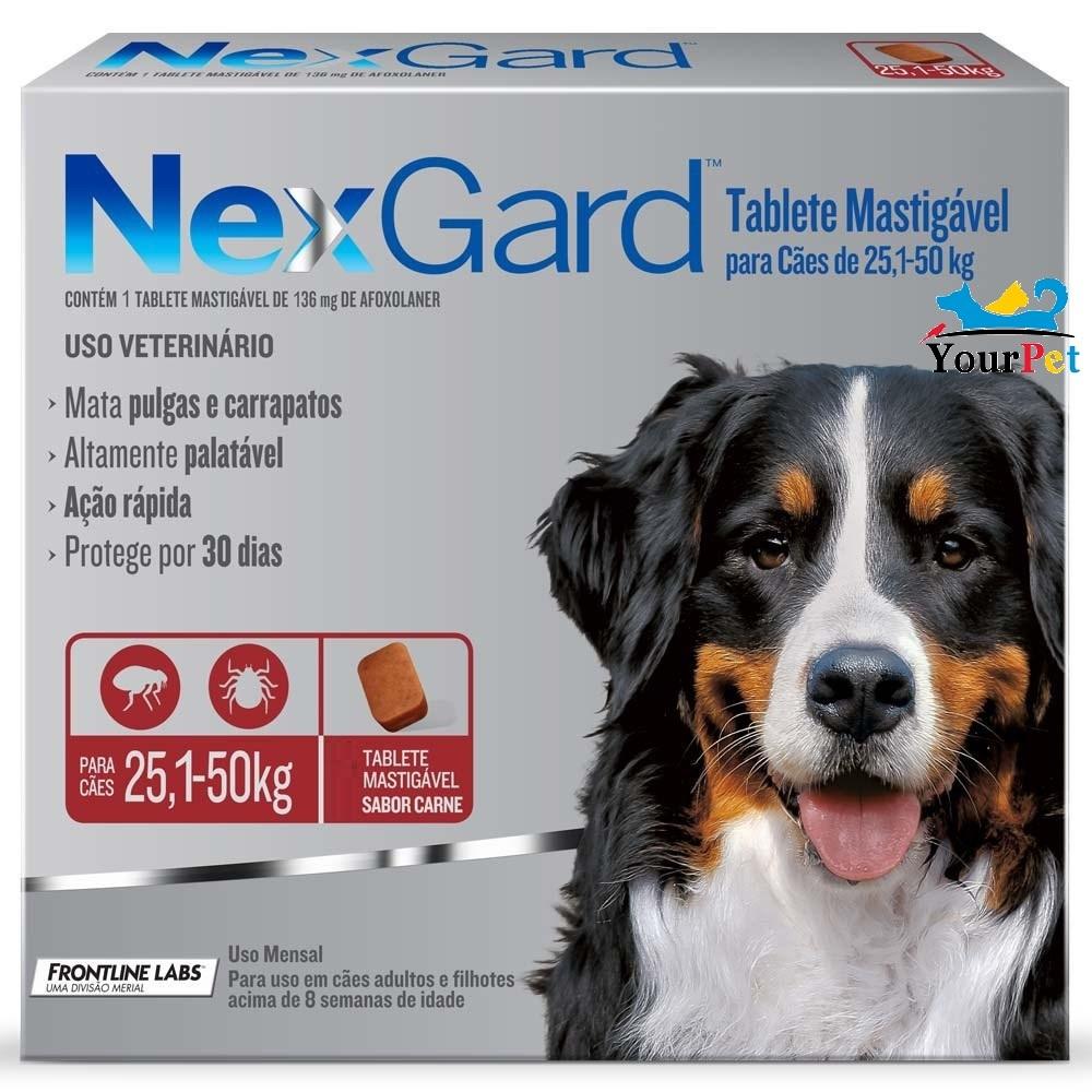 Antipulgas e Carrapatos Nexgard 136 mg para Cães de 25,1 a 50 kg - Merial (1 tablete)