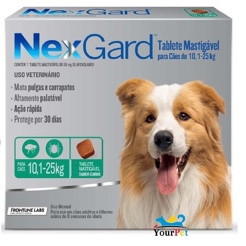 Antipulgas e Carrapatos Nexgard 68 mg para Cães de 10,1 a 25 kg - Merial (1 tablete)