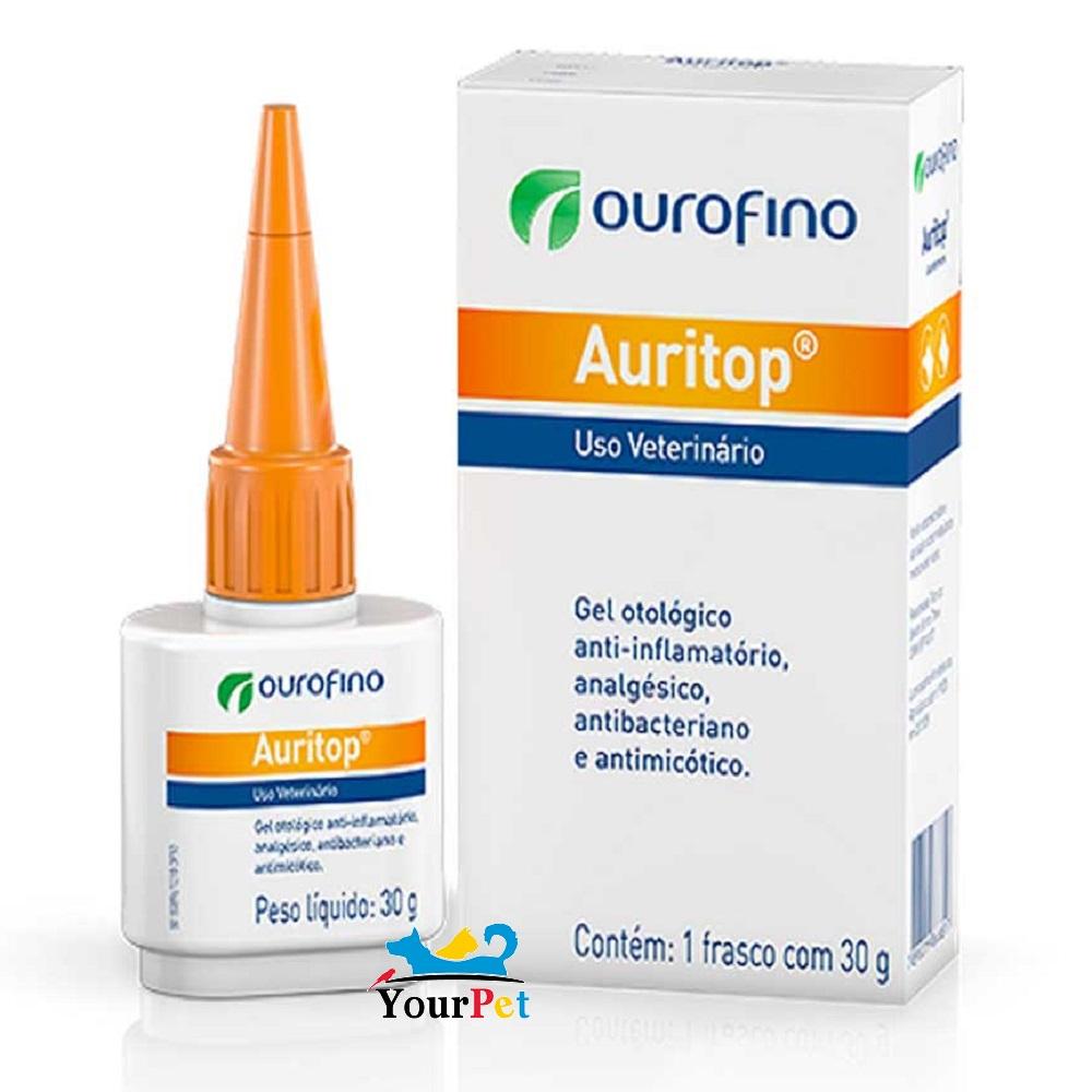 Auritop OuroFino - Gel otológico (Ciprofloxacina, Cetoconazol, Fluocinolona e Lidocaína) para tratamento de Otite em Cães e Gatos (30g)