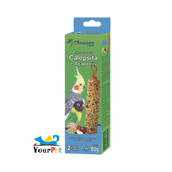 Bastão de Sementes para Calopsita e Agapornis - Pássaro Forte (2 unidades)