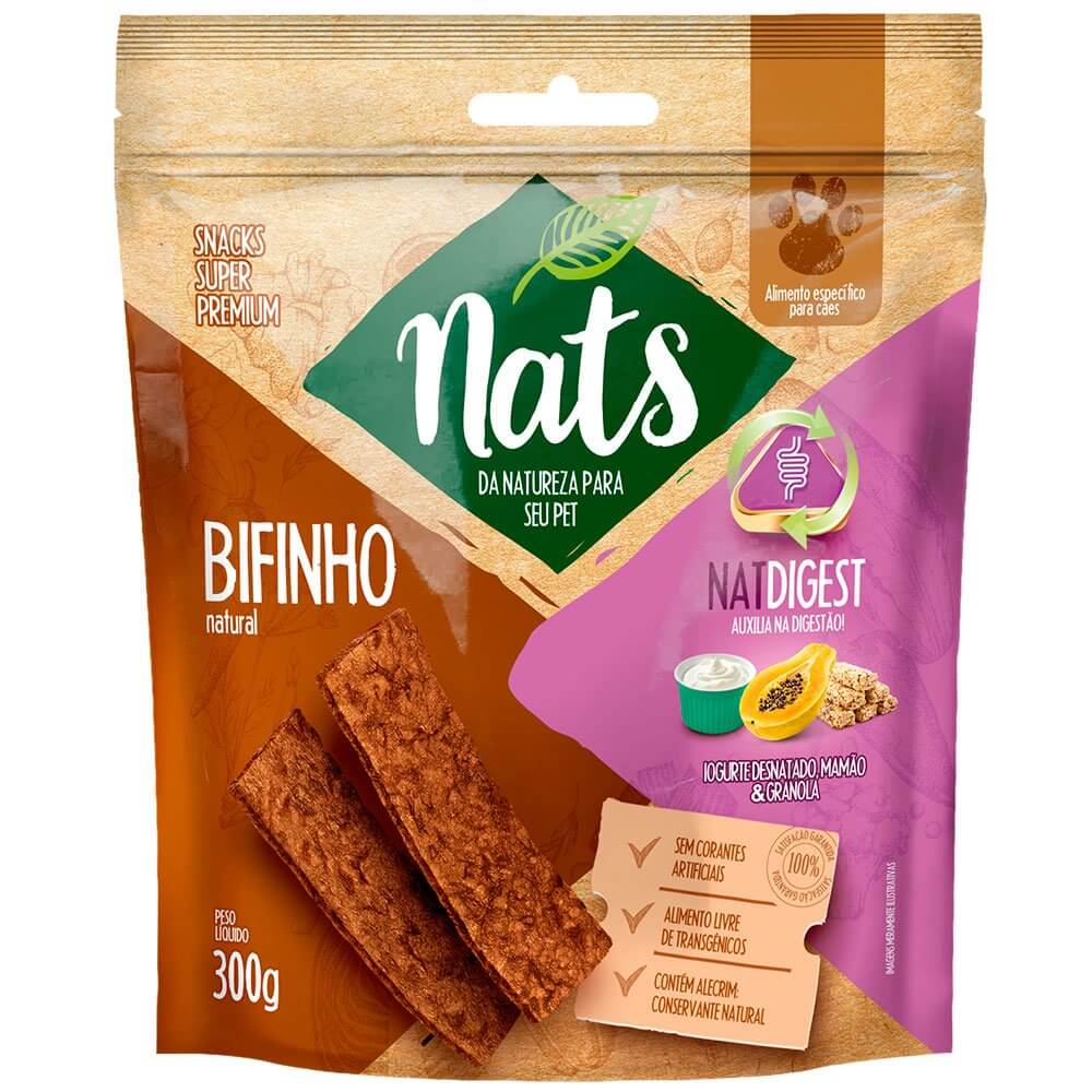 Bifinho Natural Super Premium NatDigest Auxilia na digestão dos Cães - Nats (300g)