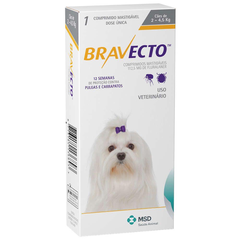 Bravecto MSD 112,5mg 2 a 4,5 kg Antipulga e Carrapato + Brinde