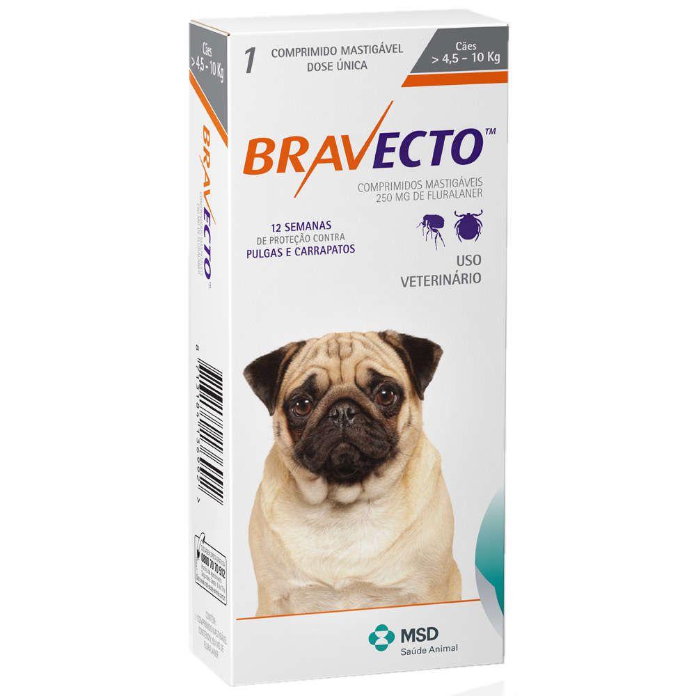 Bravecto MSD 250mg 4,5 a 10kg Antipulga e Carrapato + Brinde