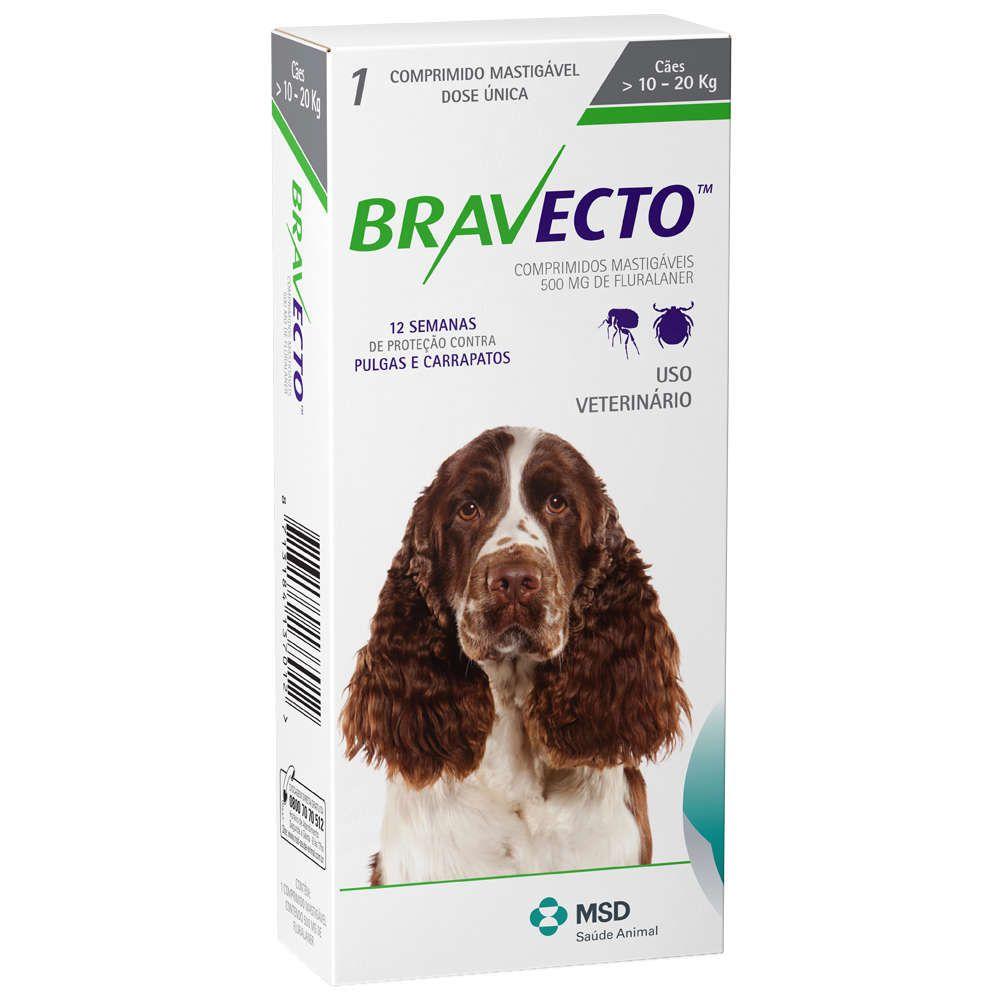 Bravecto MSD 500mg 10 a 20kg Antipulga e Carrapato + Brinde (venc. Julho/2019)