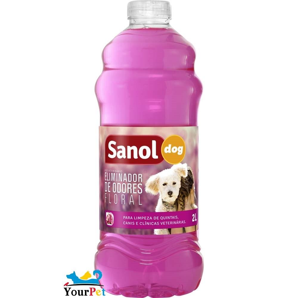 Eliminador de Odores Floral Sanol Dog - Para Limpeza de quintais, canis e clínicas veterinárias - Total Química (2 l)