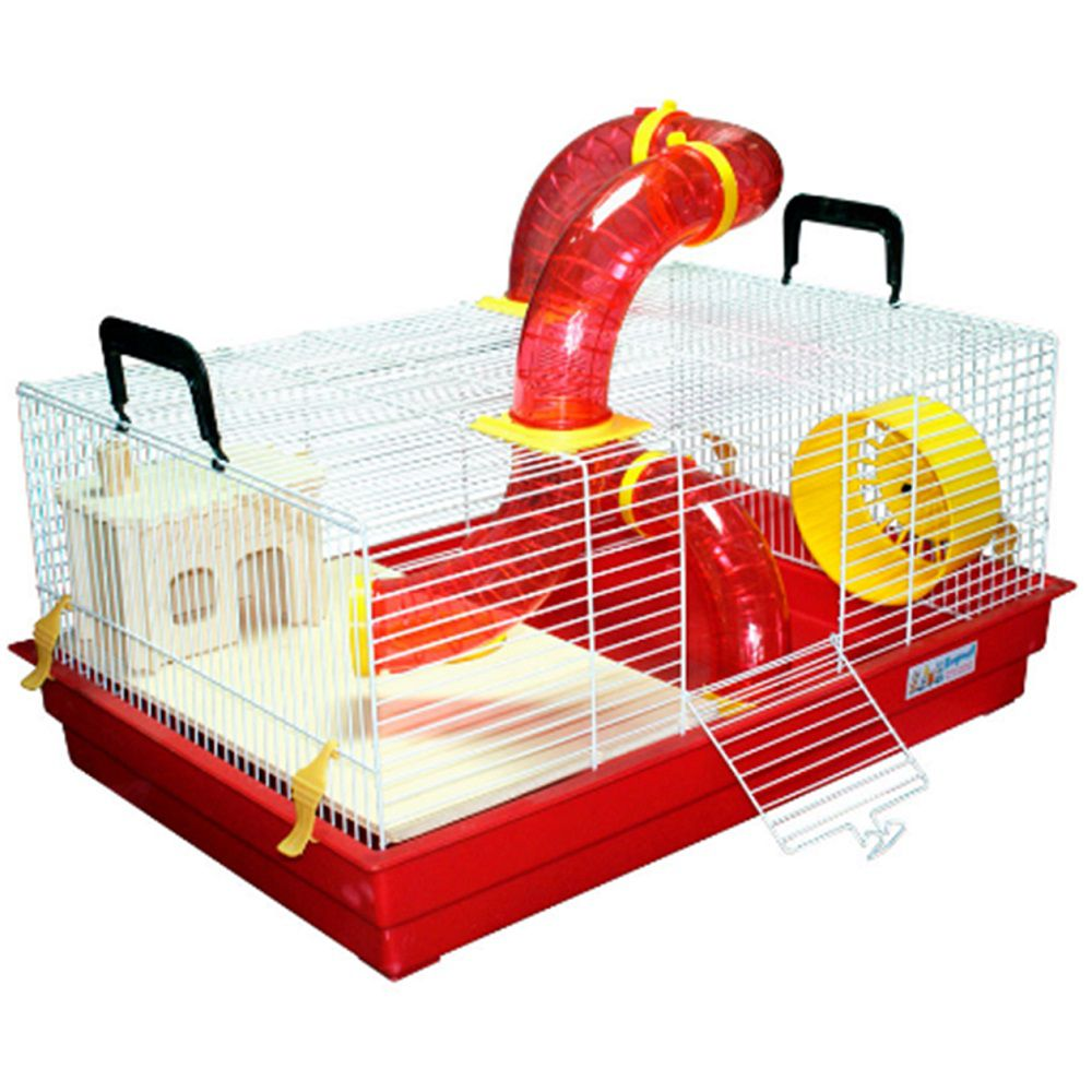 Gaiola Bragança Mickey Natureza Tubos Divertidos para Hamster e Gerbil - GR154 (Vermelha)