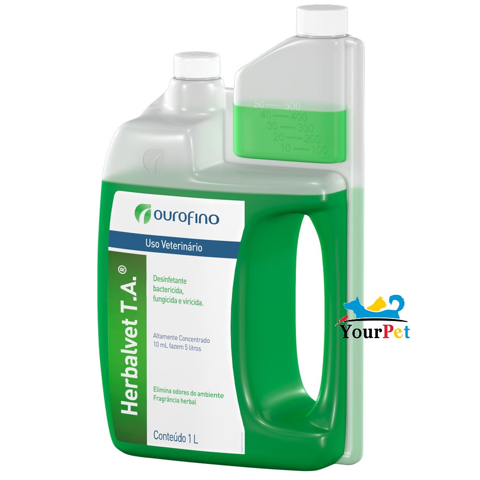 Herbalvet T.A. OuroFino - Desinfetante bactericida, fungicida e viricida altamente concentrado à base de Benzalcônio (1 litro rende 500 litros)