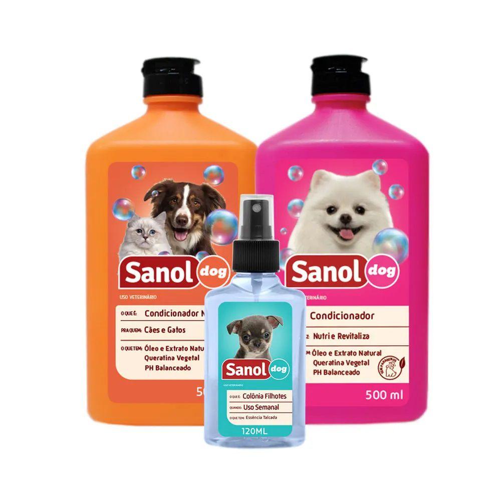 Kit Banho Sanol Dog (Shampoo Neutro + Colônia + Condicionador Revitalizante Grátis) - Total Química