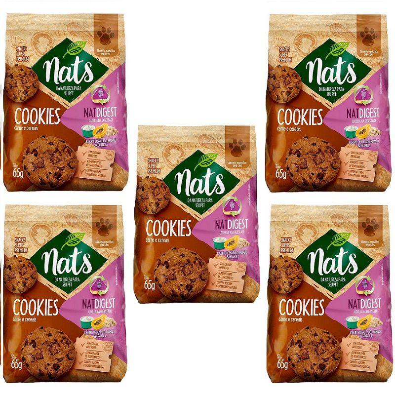 Kit com 5 Cookies de Carne e Cereais NatDigest - Super Premium Natural que auxilia na digestão dos Cães - Nats (65 g)